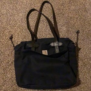 Filson Zippered Tote Bag Rugged Twill Leather Navy